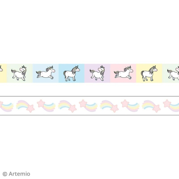 Masking Tape Artemio - Rainbow Licorne et étoile filante - 1,5 cm x 5 m - 2 pcs - Photo n°2
