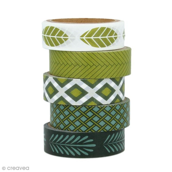 Masking Tape Artemio - Deep green - 1,5 cm x 5 m - 5 pcs - Photo n°1
