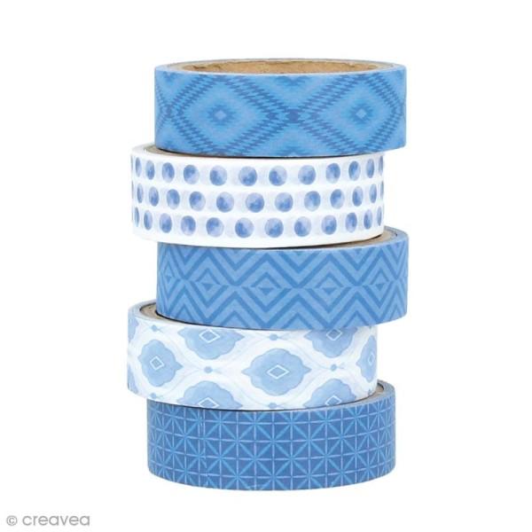 Masking Tape Artemio - Blue ethnic - 1,5 cm x 5 m - 5 pcs - Photo n°1