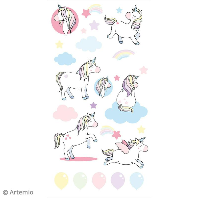 Stickers Artemio Puffies - Rainbow Licorne - 26 pcs - Photo n°2