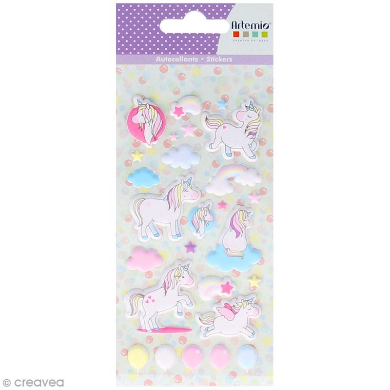 Stickers Artemio Puffies - Rainbow Licorne - 26 pcs - Photo n°1