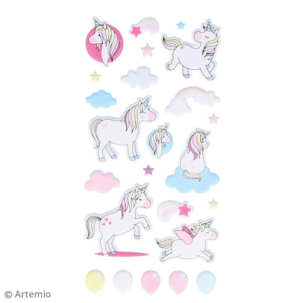 Stickers Artemio Puffies - Rainbow Licorne - 26 pcs - Photo n°5