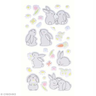Stickers Artemio Puffies - Lapins - 31 pcs