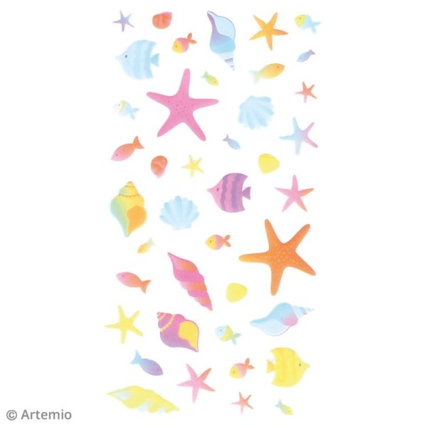 Stickers Artemio Puffies - Poissons et coquillages - 42 pcs - Photo n°2