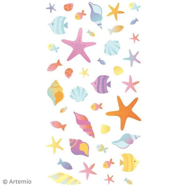 Stickers Artemio Puffies - Poissons et coquillages - 42 pcs - Photo n°3