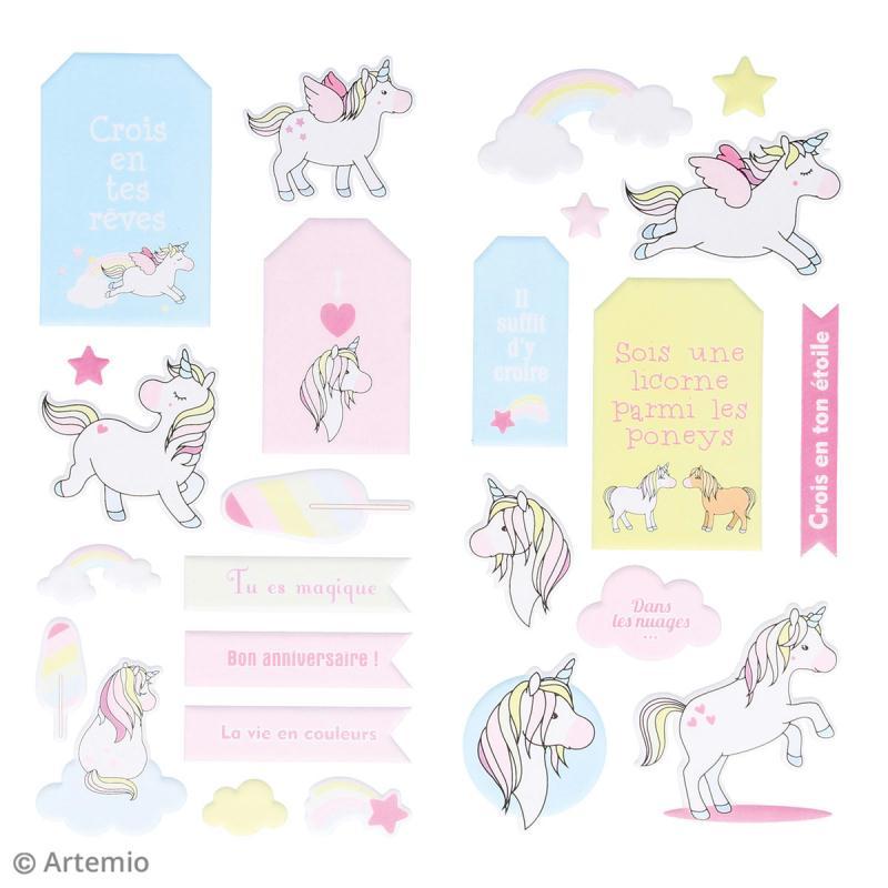 Stickers Puffies XL - Rainbow Licorne - 26 autocollants - Photo n°2