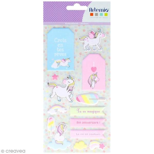 Stickers Puffies XL - Rainbow Licorne - 26 autocollants - Photo n°1