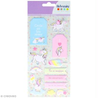 Stickers Puffies XL - Rainbow Licorne - 26 autocollants
