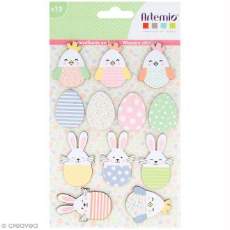 Stickers en bois - lapin et poule de Pâques - 12 autocollants