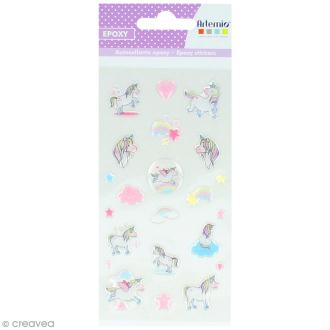 Stickers Epoxy - Rainbow Licorne à paillettes - 22 pcs