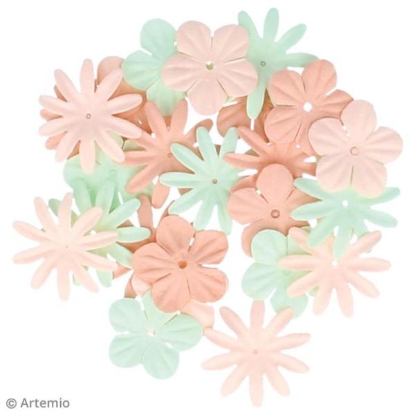Fleurs en papier et perles autocollantes - Romantique - 75 pcs - Photo n°2