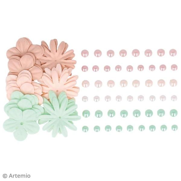 Fleurs en papier et perles autocollantes - Romantique - 75 pcs - Photo n°3