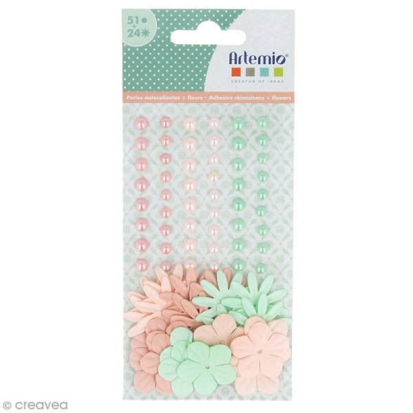 Fleurs en papier et perles autocollantes - Romantique - 75 pcs - Photo n°1