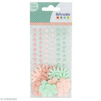 Fleurs en papier et perles autocollantes - Romantique - 75 pcs