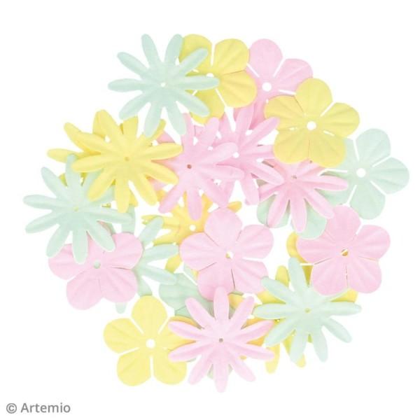 Fleurs en papier et perles autocollantes - Rainbow - 75 pcs - Photo n°2