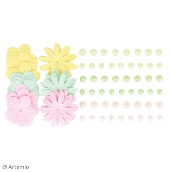 Fleurs en papier et perles autocollantes - Rainbow - 75 pcs - Photo n°3