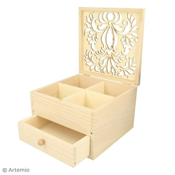 Boîte à bijoux en bois - Motif arabesque ajouré - 16 x 16 x 10 cm environ - Photo n°2