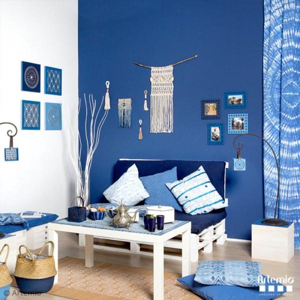 Cadre ajouré en bois - Blue ethnic Ondulation - 17 x 22 cm - Photo n°3