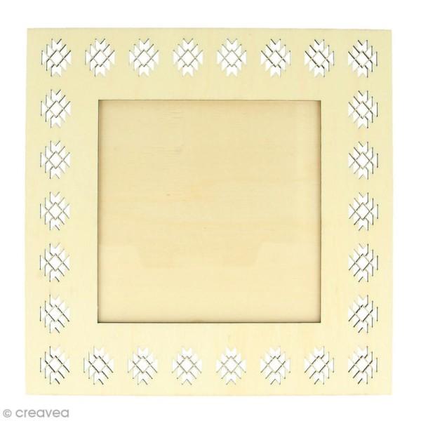Cadre ajouré en bois - Blue ethnic Géométrique - 20 x 20 cm - Photo n°1