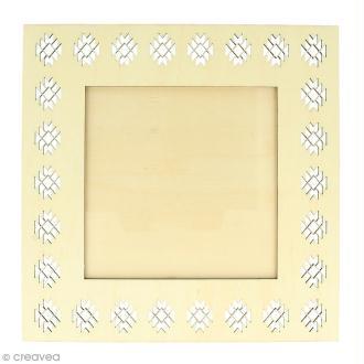 Cadre ajouré en bois - Blue ethnic Géométrique - 20 x 20 cm