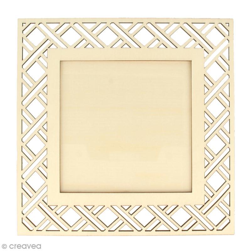 Cadre ajouré en bois - Deep green Losanges géométriques - 20 x 20 cm - Photo n°1