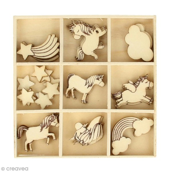 Set de mini silhouette en bois - Rainbow Licorne - 2,5 cm - 32 pcs - Photo n°1