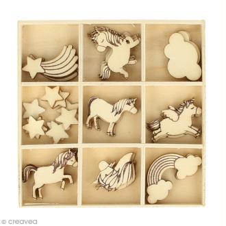 Set de mini silhouette en bois - Rainbow Licorne - 2,5 cm - 32 pcs