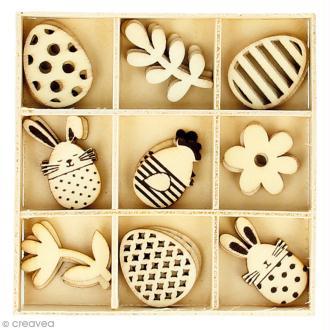 Set de mini silhouette en bois - Lapin et oeuf de Pâques - 2,5 cm - 27 pcs