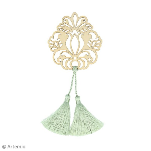 Forme en bois à décorer et pampilles - Médaillon fleur baroque - 8,5 cm - Photo n°2