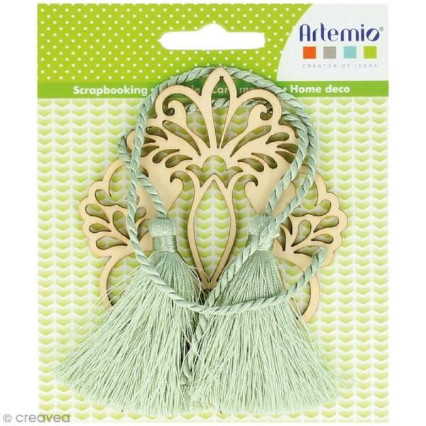 Forme en bois à décorer et pampilles - Médaillon fleur baroque - 8,5 cm - Photo n°1