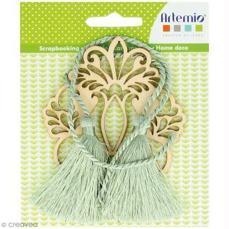 Forme en bois à décorer et pampilles - Médaillon fleur baroque - 8,5 cm