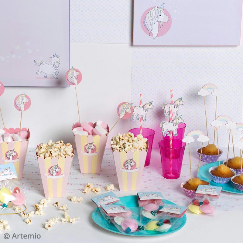 Kit boîte à popcorn en carton à décorer - Rainbow Licorne - 6 pcs - Photo n°2