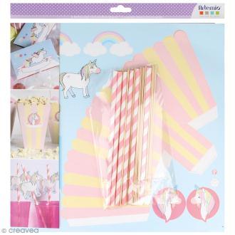 Kit boîte à popcorn en carton à décorer - Rainbow Licorne - 6 pcs