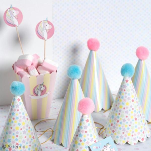 Kit chapeaux de fête à fabriquer - Rainbow Licorne - 10 pcs - Photo n°2