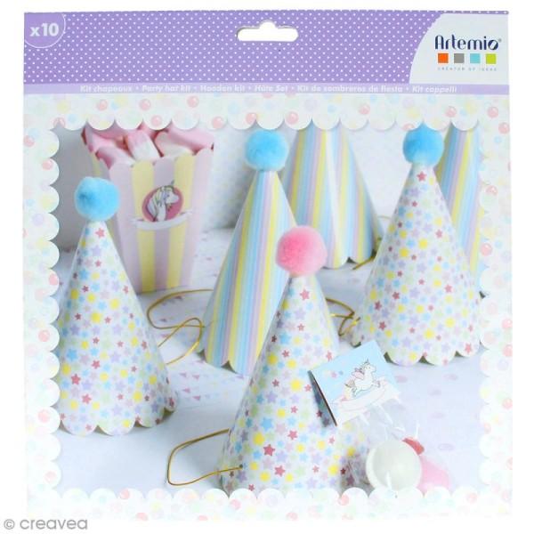 Kit chapeaux de fête à fabriquer - Rainbow Licorne - 10 pcs - Photo n°1