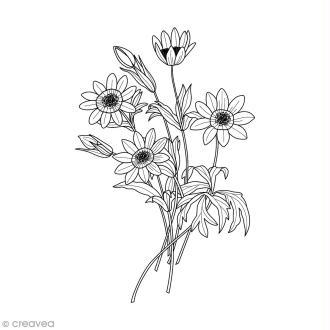 Tampon Bois Artemio - Bouquet d'anémones - 3,7 x 5,3 cm