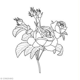 Tampon Bois Artemio - Roses - 5 x 6 cm
