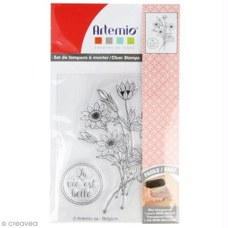 Tampon clear Artemio - Jardin secret bouquet - 2 pcs