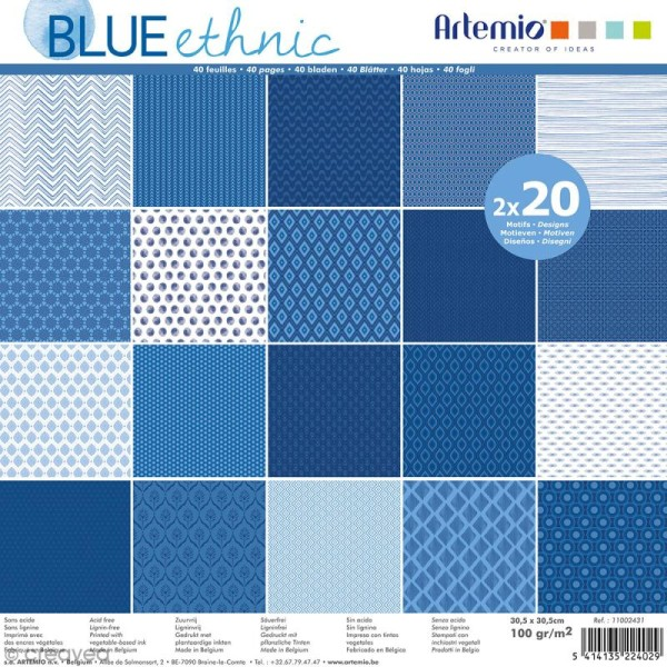 Papier Scrapbooking Artemio - Blue ethnic - 30,5 x 30,5 cm - 40 pcs - Photo n°1