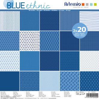 Papier Scrapbooking Artemio - Blue ethnic - 30,5 x 30,5 cm - 40 pcs