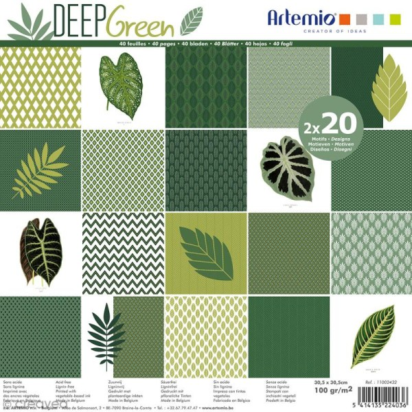 Papier Scrapbooking Artemio - Deep green - 30,5 x 30,5 cm - 40 pcs - Photo n°1