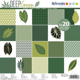 Papier Scrapbooking Artemio - Deep green - 30,5 x 30,5 cm - 40 pcs