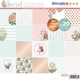 Papier Scrapbooking Artemio Foil cuivré - Jardin secret - 30,5 x 30,5 cm - 40 pcs