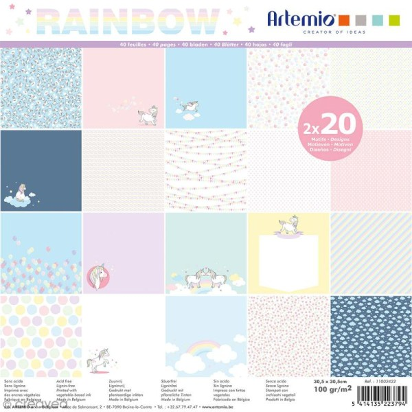 Papier Scrapbooking Artemio - Rainbow - 30,5 x 30,5 cm - 40 pcs - Photo n°1
