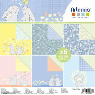 Papier scrapbooking Artemio - Lapins de pâques et paquerettes - 30,5 x 30,5 cm - 6 feuilles