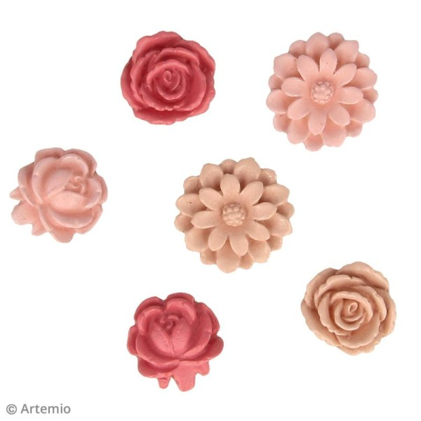 Fleur en résine - Jardin secret - Vieux rose - 2 cm - 6 pcs - Photo n°2