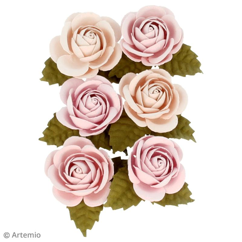 Rose en papier Artemio Jardin secret - 3,5 cm - Vieux rose - 6 pcs - Photo n°2