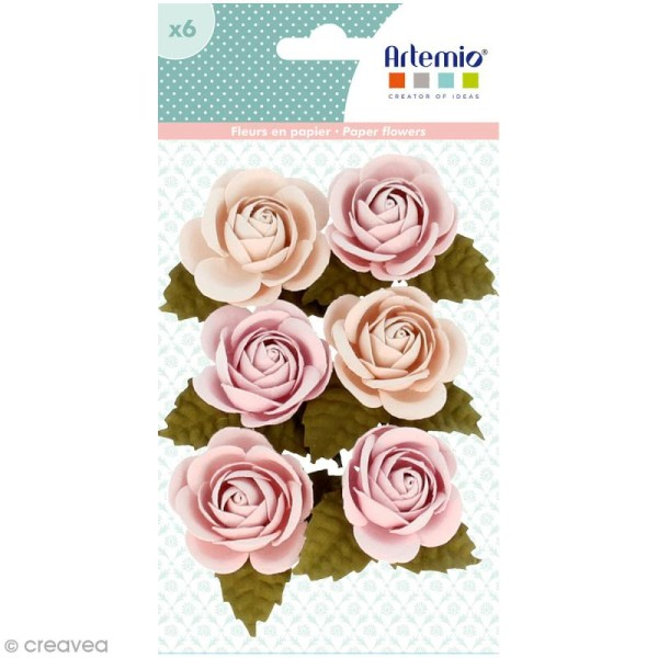 Rose en papier Artemio Jardin secret - 3,5 cm - Vieux rose - 6 pcs - Photo n°1