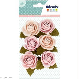 Rose en papier Artemio Jardin secret - 3,5 cm - Vieux rose - 6 pcs