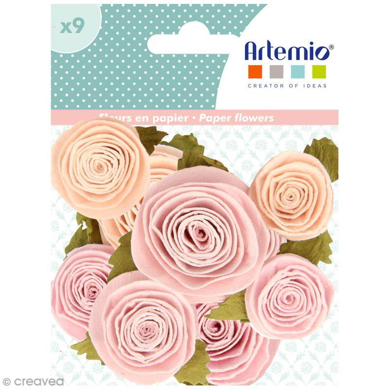 20 Mm 10 Roses En Papier Rose Clair Blanc Fleurs En Papier